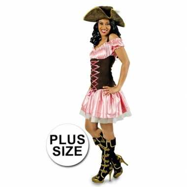 Grote maat roze dames piratenjurk