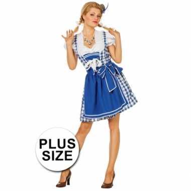 Grote maten oktoberfest jurk blauw