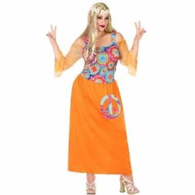 Maten grote maat oranje hippie/flower power verkleed jurk dames