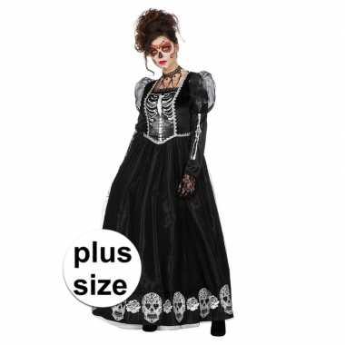 Maten halloween grote maat day of the dead halloween gothic jurk dame
